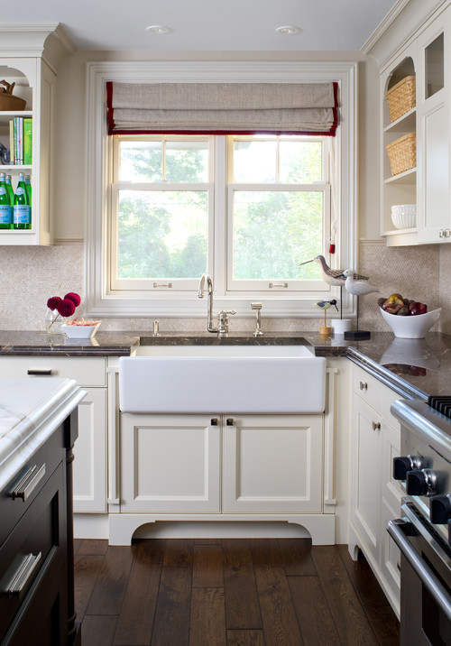 porcelain farm sink in kitchen