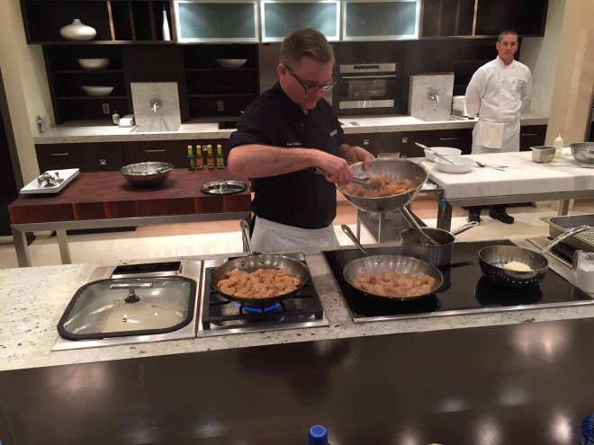 This is chef Joel winning over my heart as he prepares the shrimp tacos.