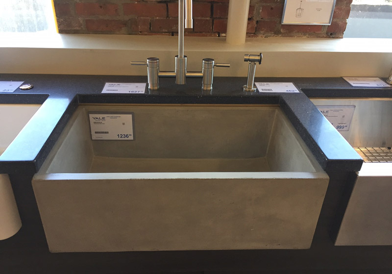 concrete farm sink display Yale Appliance